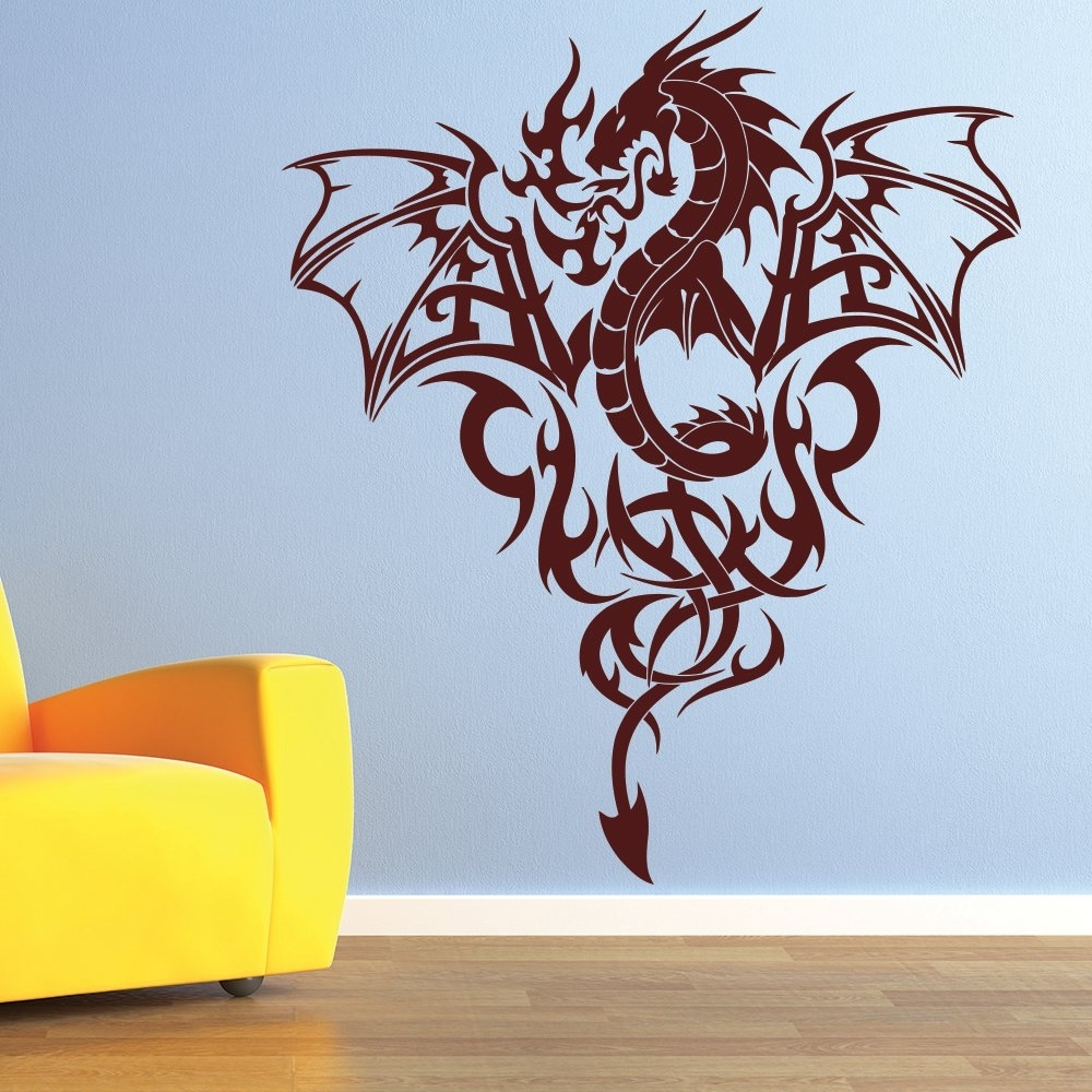 2018 Dragon Wall Art Intended For Fire Dragon Wall Sticker Tribal Monster Wall Decal Boys Bedroom Home (View 3 of 20)
