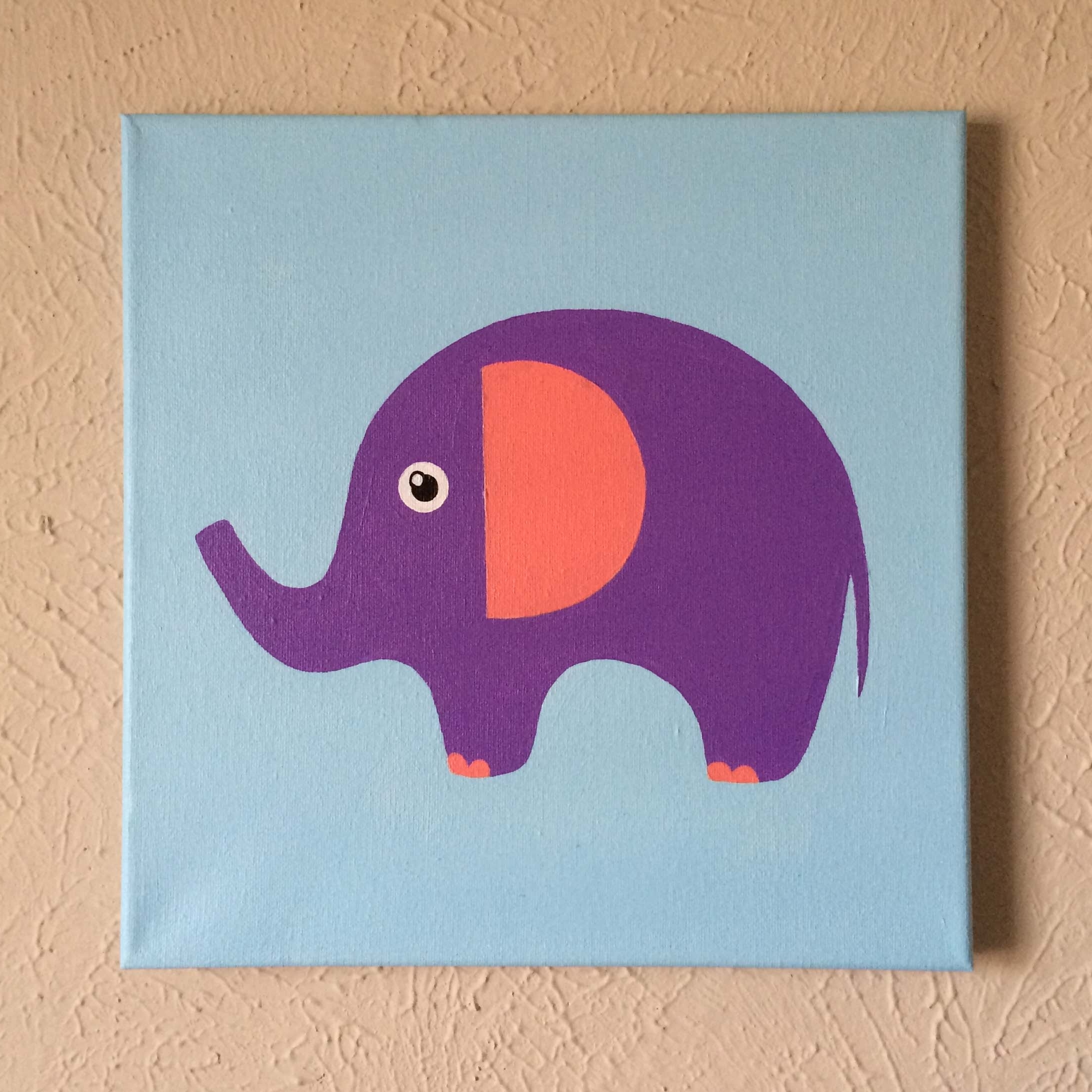 "2018 Elephant Canvas Wall Art In Original Hand Made Elephant Nursery Wall Art, 12"" X 12"" Acrylic (View 2 of 20)"
