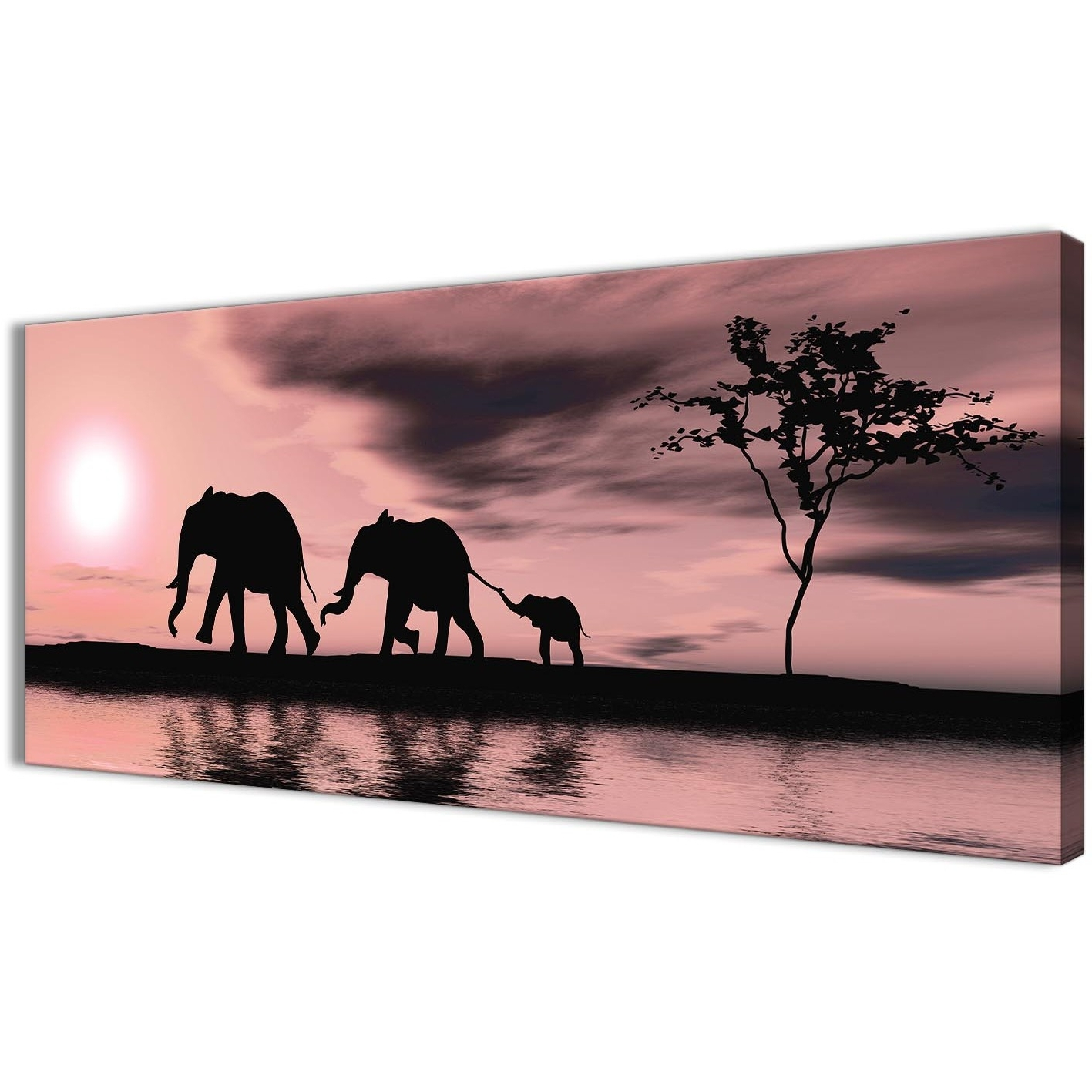 2018 Elephant Canvas Wall Art Inside Blush Pink African Sunset Elephants Canvas Wall Art Print – Modern (View 2 of 20)