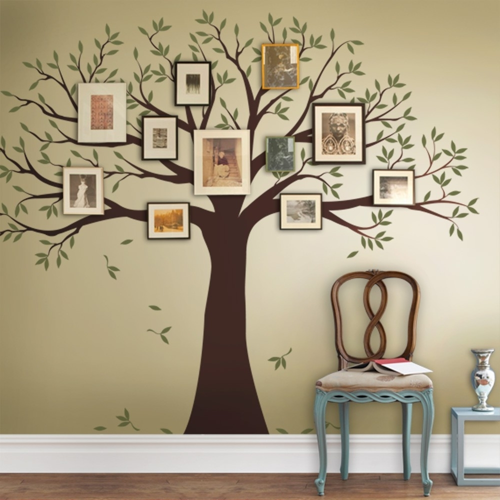 2018 Family Tree Wall Art Regarding Family Tree Decal – Two Colors – Wall Decals – Scheme A (View 2 of 15)