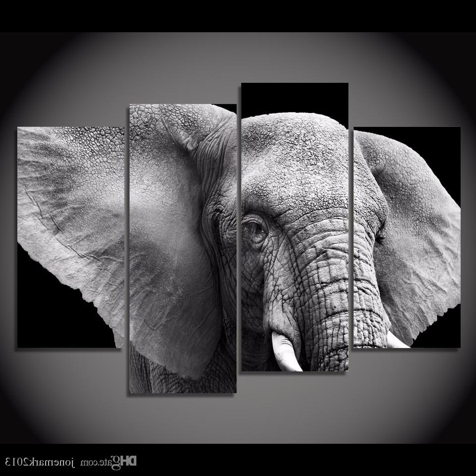 2018 Framed Hd Printed Black White Elephant Tusks Ear Picture Wall With Regard To Well Known Elephant Canvas Wall Art (Gallery 15 of 20)