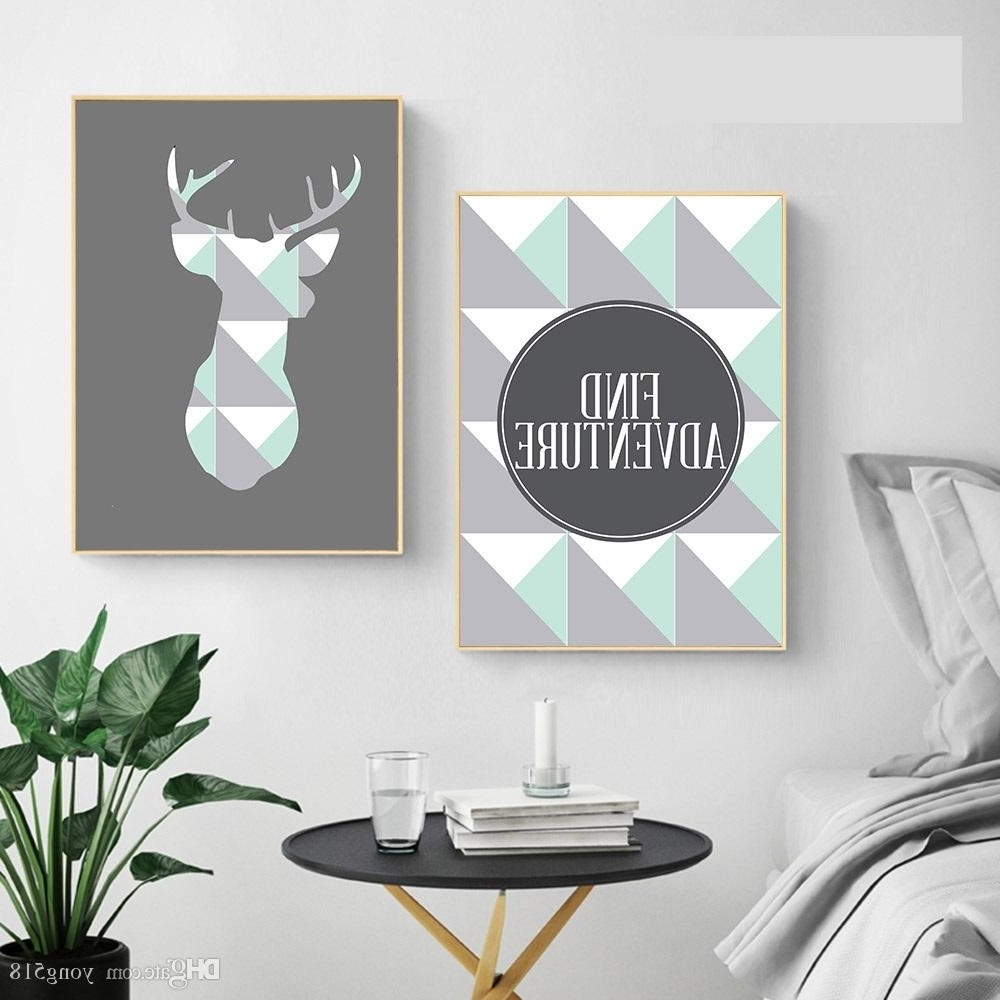 2018 Geometric Deer Arrow Wall Art A4 Canvas Posters Prints Nordic For Newest Arrow Wall Art (View 1 of 20)
