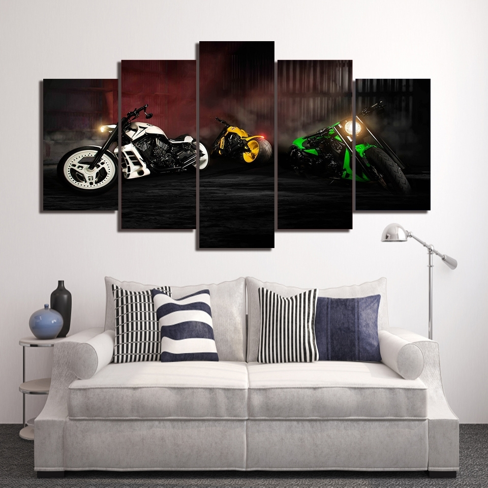 2018 Harley Davidson Wall Art For Harley Davidson Sport Motor 5 Pieces Canvas Framed Printed Wall Art (View 1 of 20)