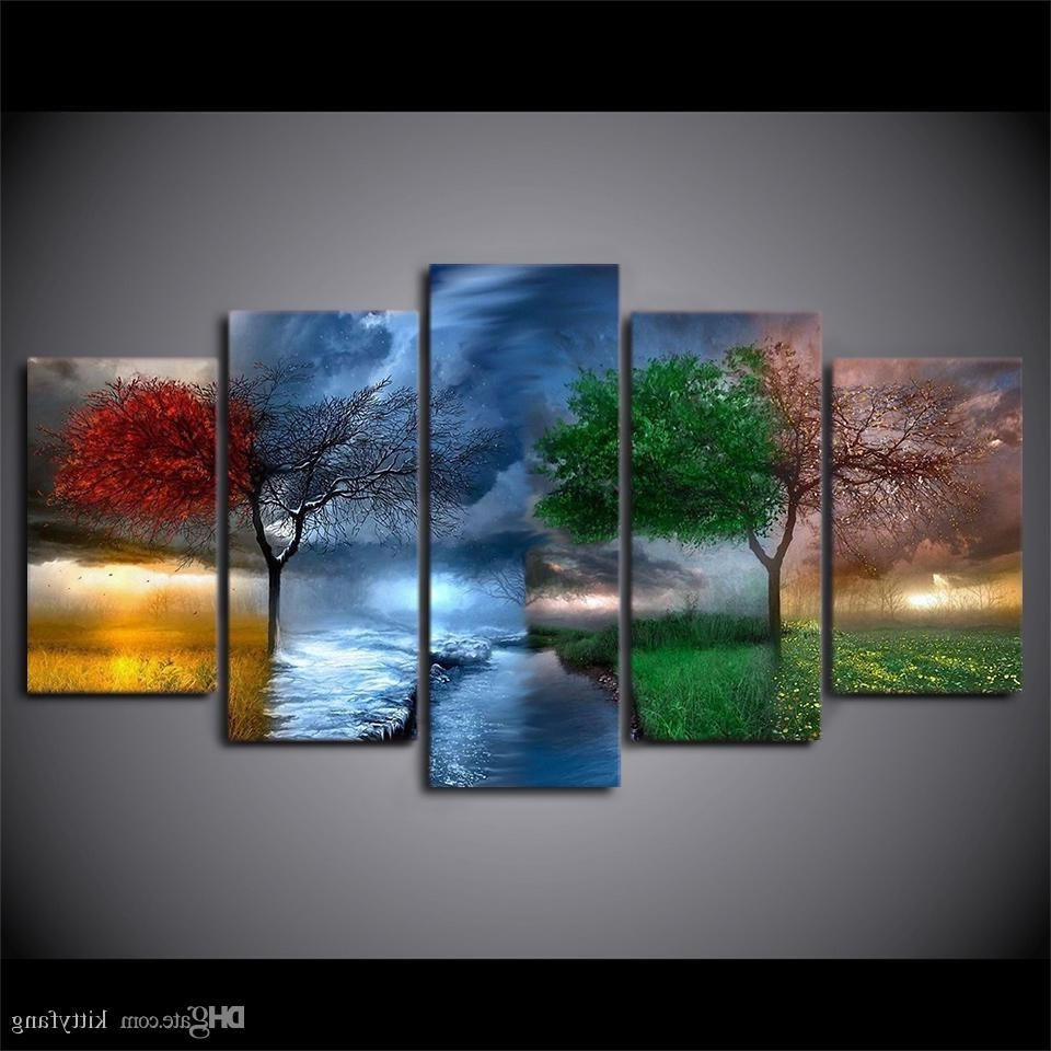 2018 Hd Prints Fantasy Nature 4 Seasons Tree Pictures Home Wall Art With Regard To Favorite Nature Wall Art (View 4 of 20)