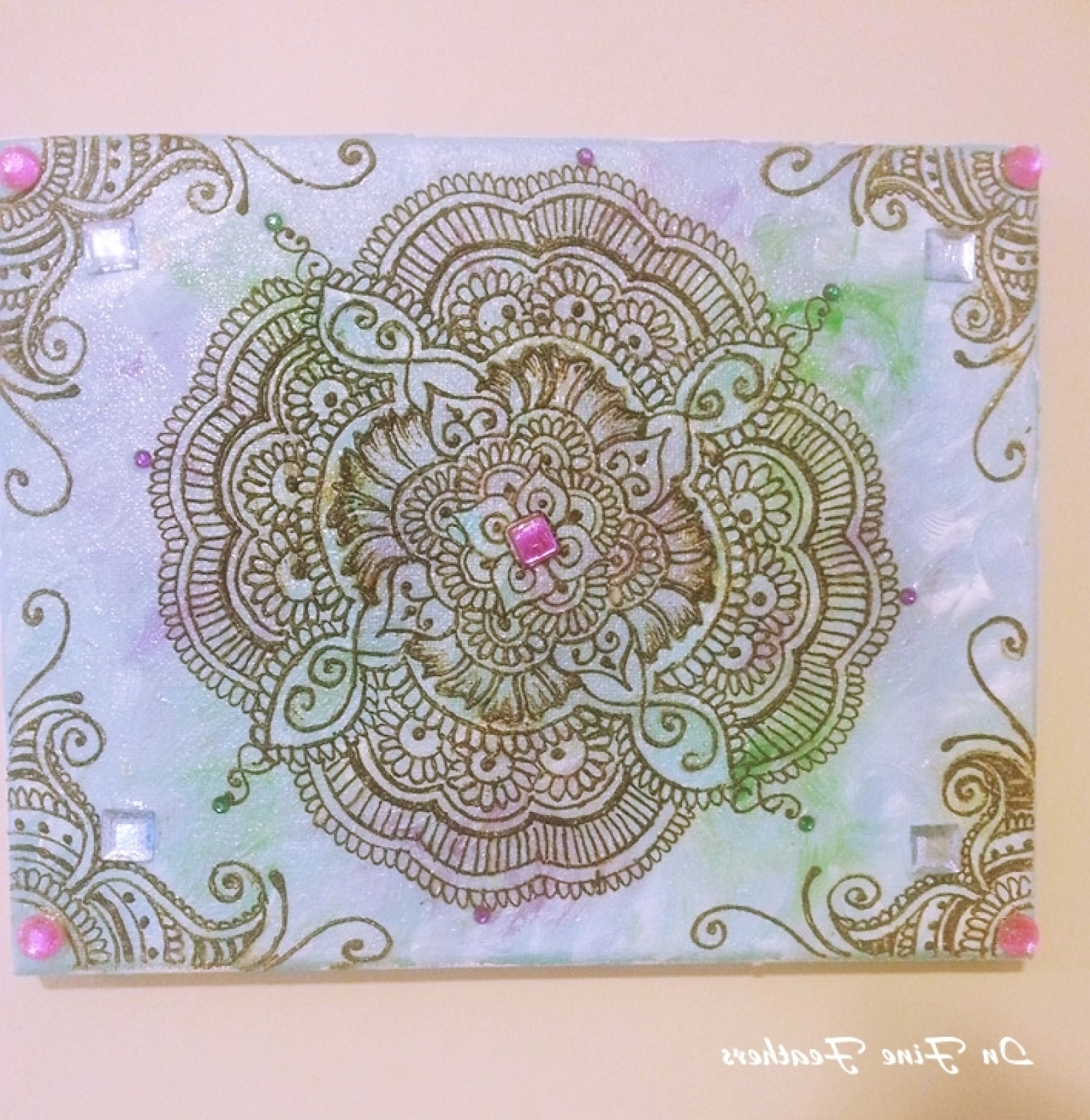 2018 Henna Mandala Boho Chic Wall Art Yoga Studio Office Spring Decor Regarding Henna Wall Art (View 1 of 20)