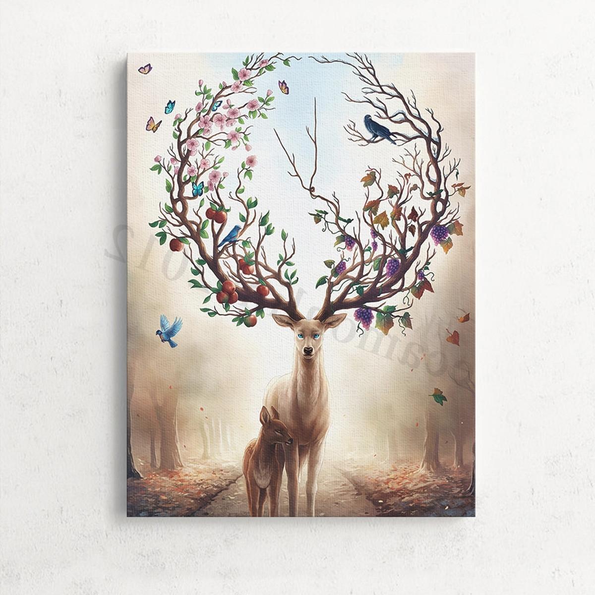2018 Home Wall Art For Unframed Canvas Print Deer Design Modern Home Decor Wall Art (View 1 of 20)