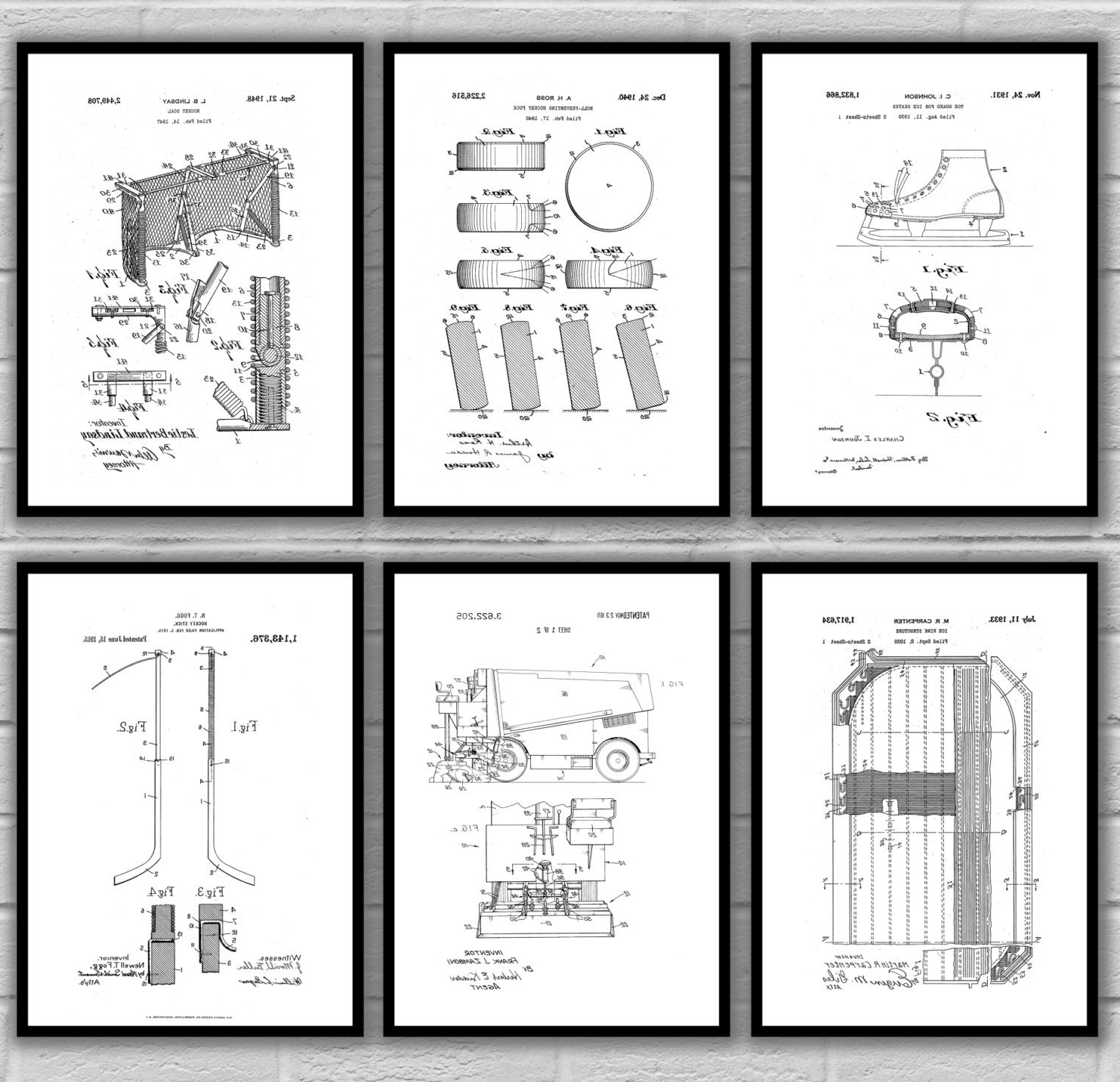 2018 Ice Hockey Patent Print Set Of 6, Hockey Patent Prints, Hockey Within Hockey Wall Art (View 2 of 15)