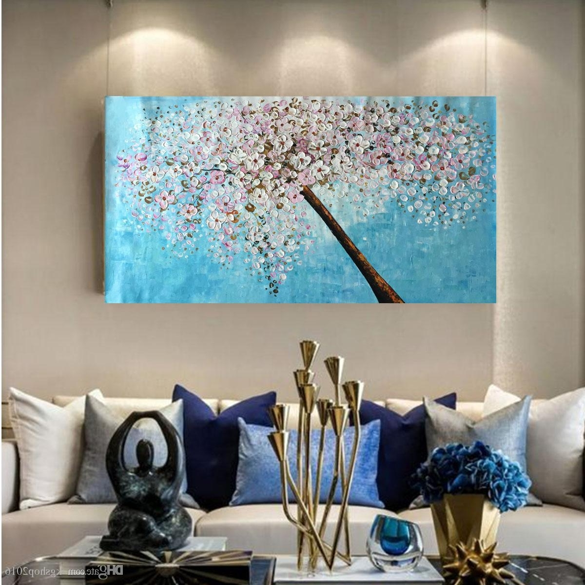 2018 Kgtech Thick Textured Acrylic Paintings 3D Floral Wall Art With Regard To Recent Acrylic Wall Art (View 4 of 20)