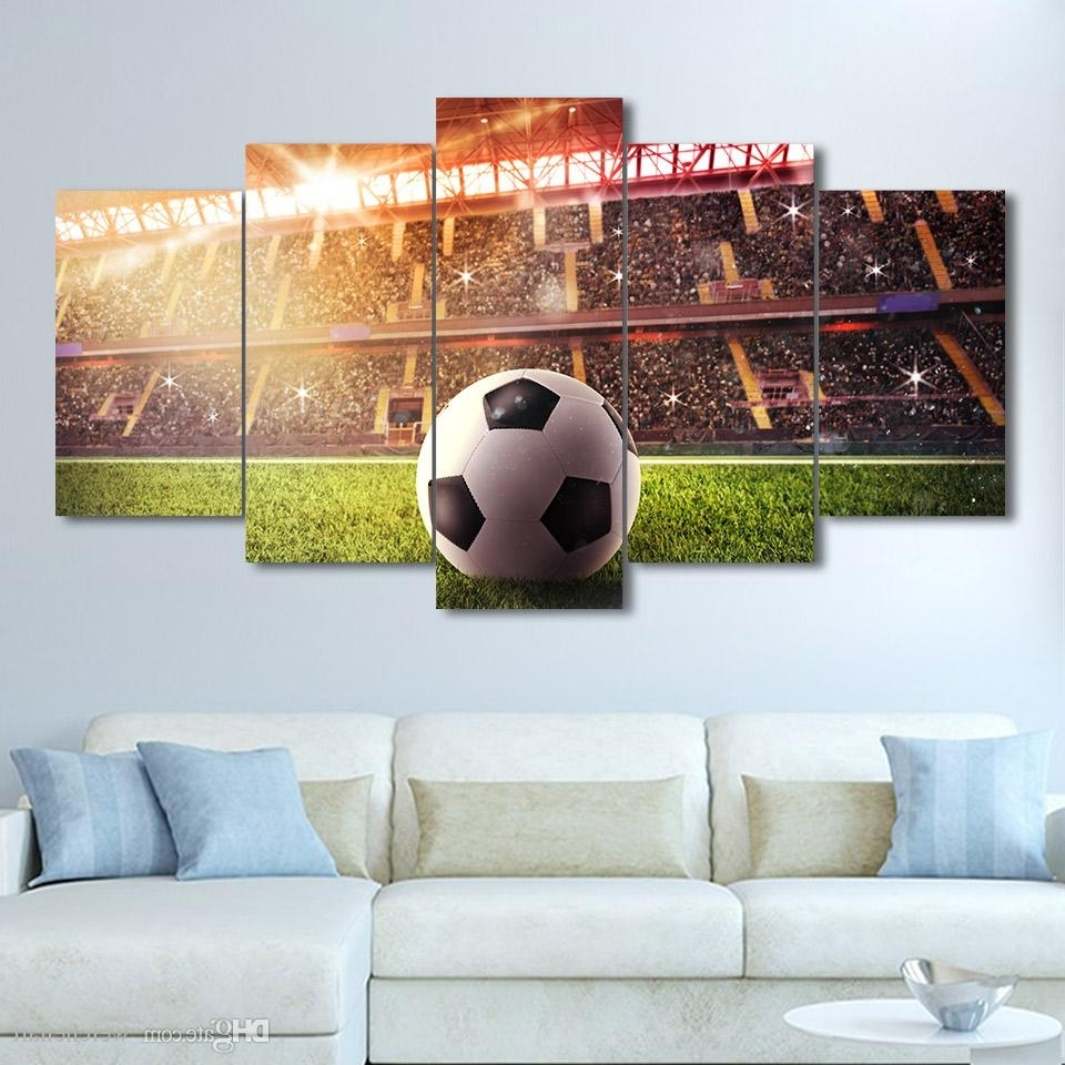 2018 Large 5 Panel Sport Wall Art Print Wall Art Football Field With Well Liked Large Framed Canvas Wall Art (View 2 of 20)