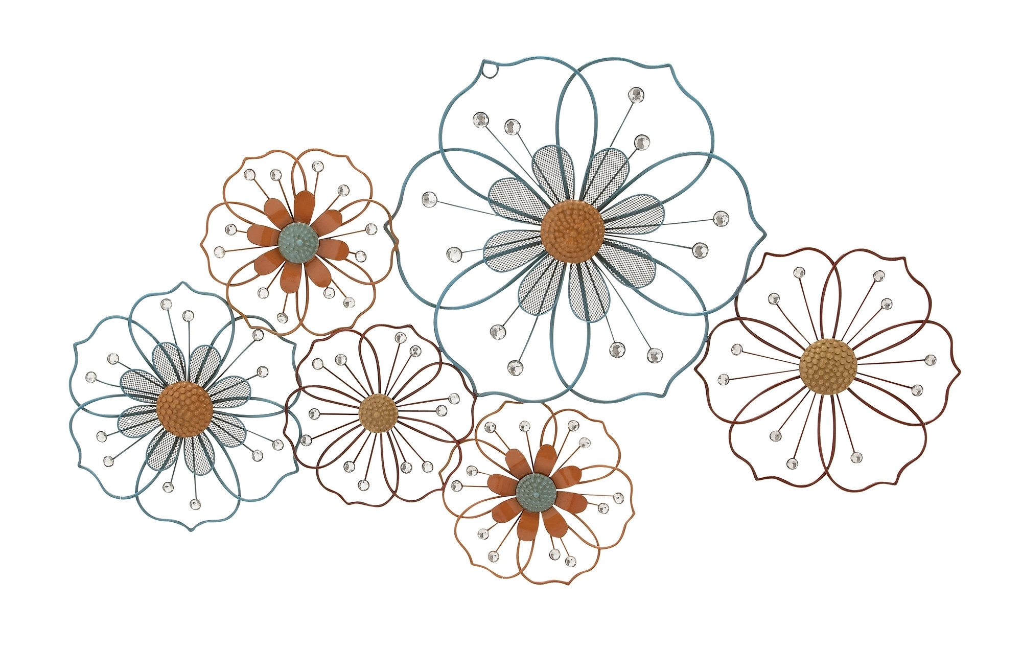2018 Large Flower Silhouettes – Floral Metal Wall Art Throughout Flower Wall Art (Gallery 7 of 20)