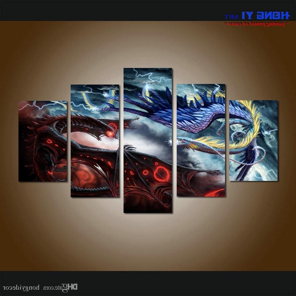 2018 Large Home Decor Canvas Print Art Painting Wall Art Cartoon With Most Recent 5 Piece Wall Art Canvas (View 10 of 15)