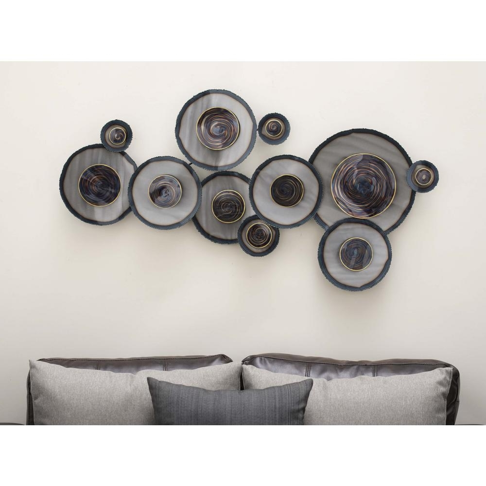 2018 Litton Lane 45 In. X 24 In. Rustic Iron Abstract Swirled Circles With Circle Wall Art (Gallery 17 of 20)