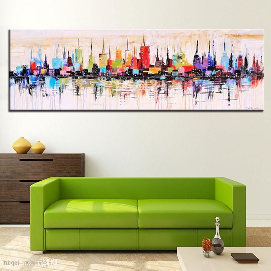 2018 Modern Living Room Decorative Oil Painting Hand Painted Large Intended For Popular Long Canvas Wall Art (View 13 of 20)