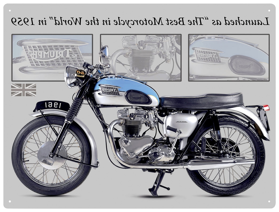 2018 Motorcycle Wall Art Regarding Triumph Bonneville Motorcycle Metal Wall Art Sign  (View 1 of 20)