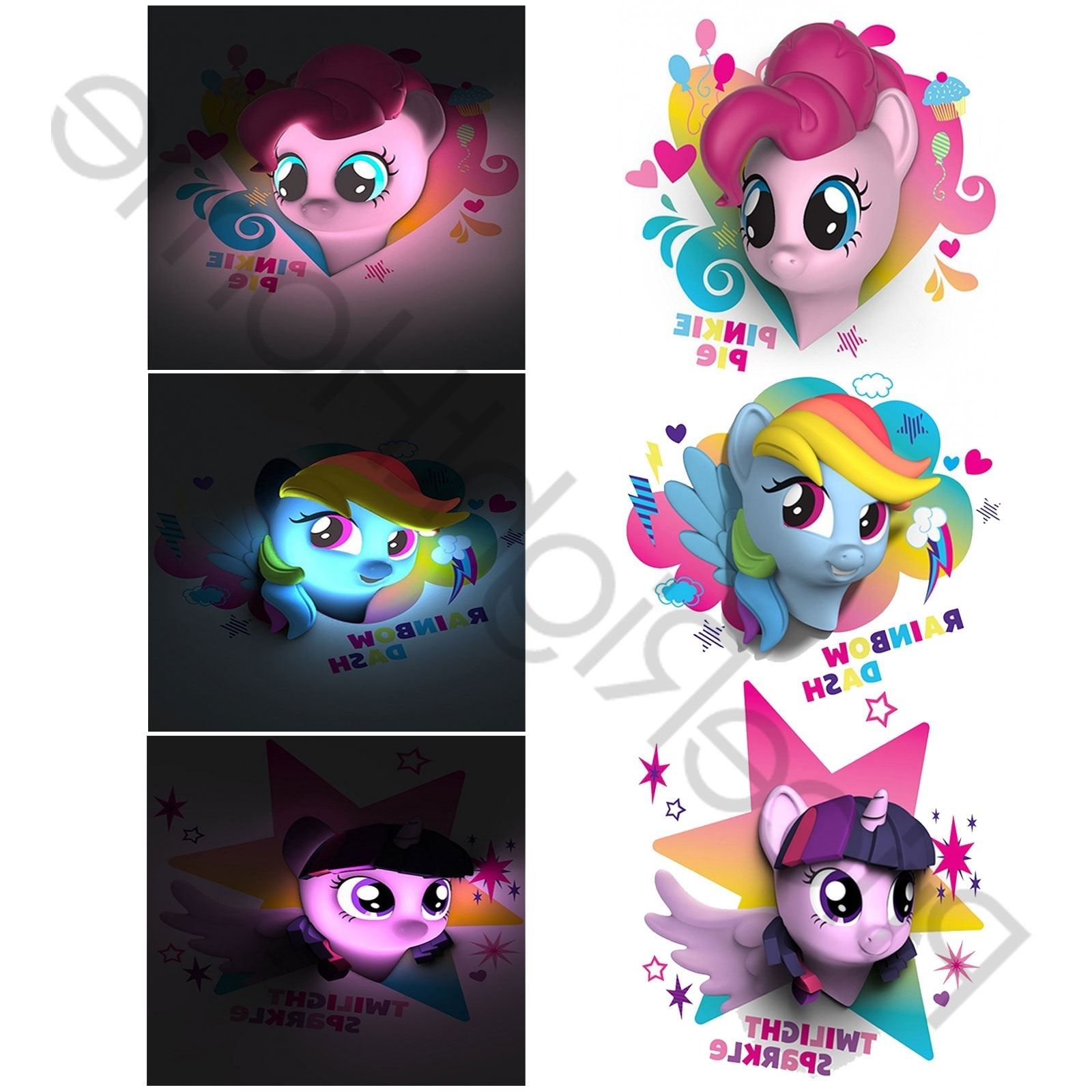 2018 My Little Pony 3d Led Wall Light Pinkie Pie Rainbow Dash Childrens With Regard To My Little Pony Wall Art (View 19 of 20)