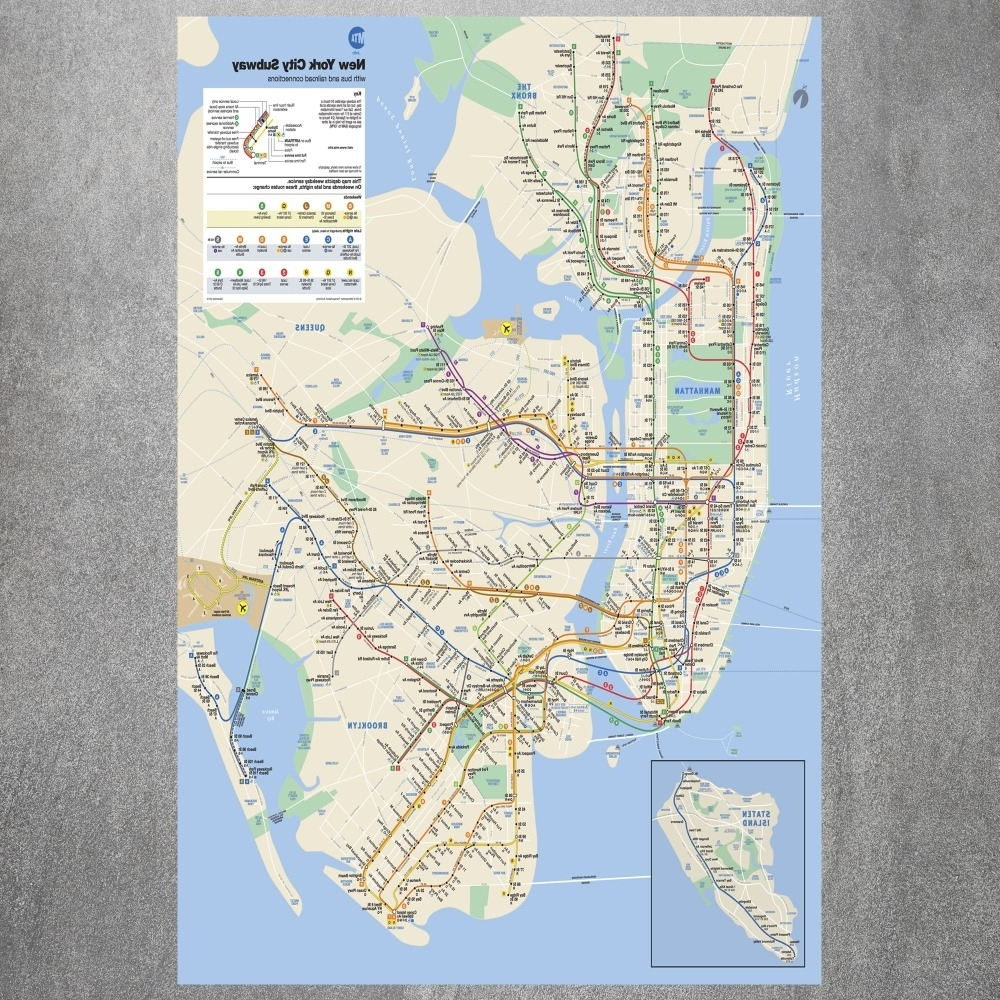 2018 New York City Subway Map Canvas Art Print Painting Poster Wall With Nyc Subway Map Wall Art (View 4 of 20)
