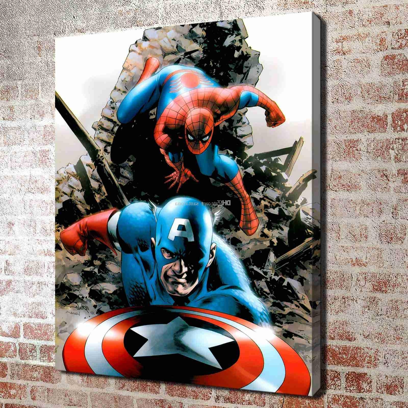 2018 No Frame Spiderman And Captain America Hd Canvas Print Wall Art In Most Popular Captain America Wall Art (View 10 of 15)
