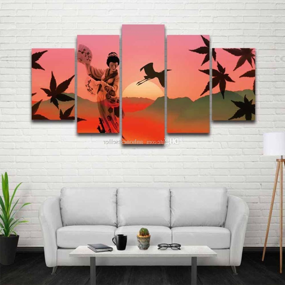 2018 Printed Japanese Art Landscape Picture Scenery Canvas Painting In Trendy Japanese Wall Art (Gallery 15 of 20)