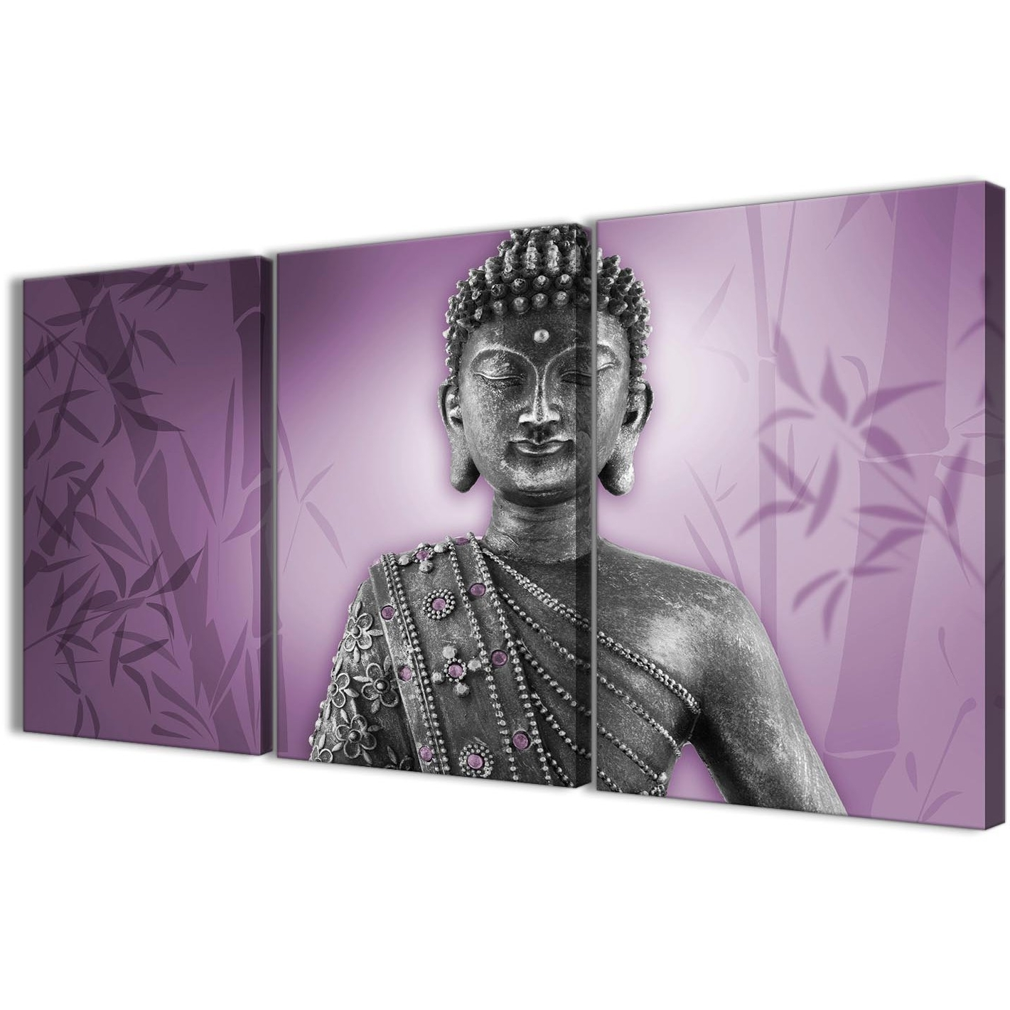 2018 Purple And Grey Silver Canvas Art Prints Of Buddha – Multi Set Of 3 For Wall Art Prints (View 2 of 20)
