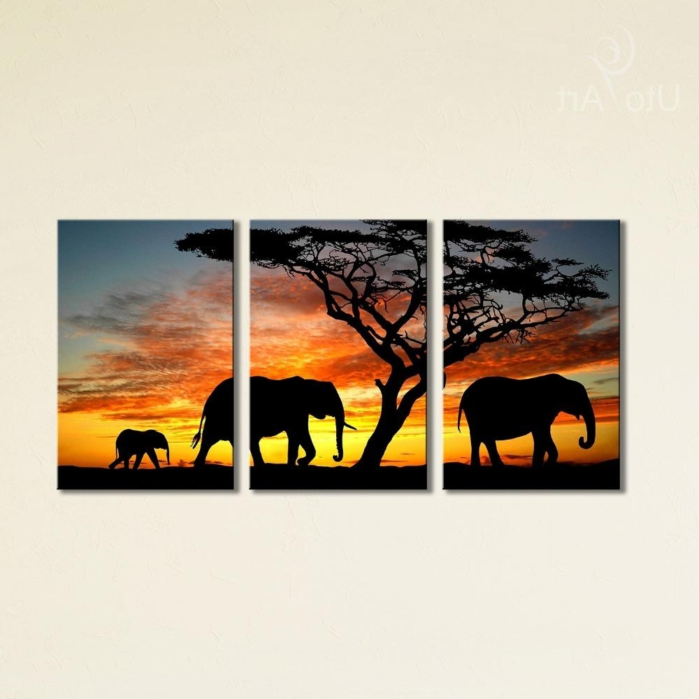 2018 Sunset Elephant Painting Canvas Wall Art Picture Home For Fashionable Elephant Canvas Wall Art (View 5 of 20)