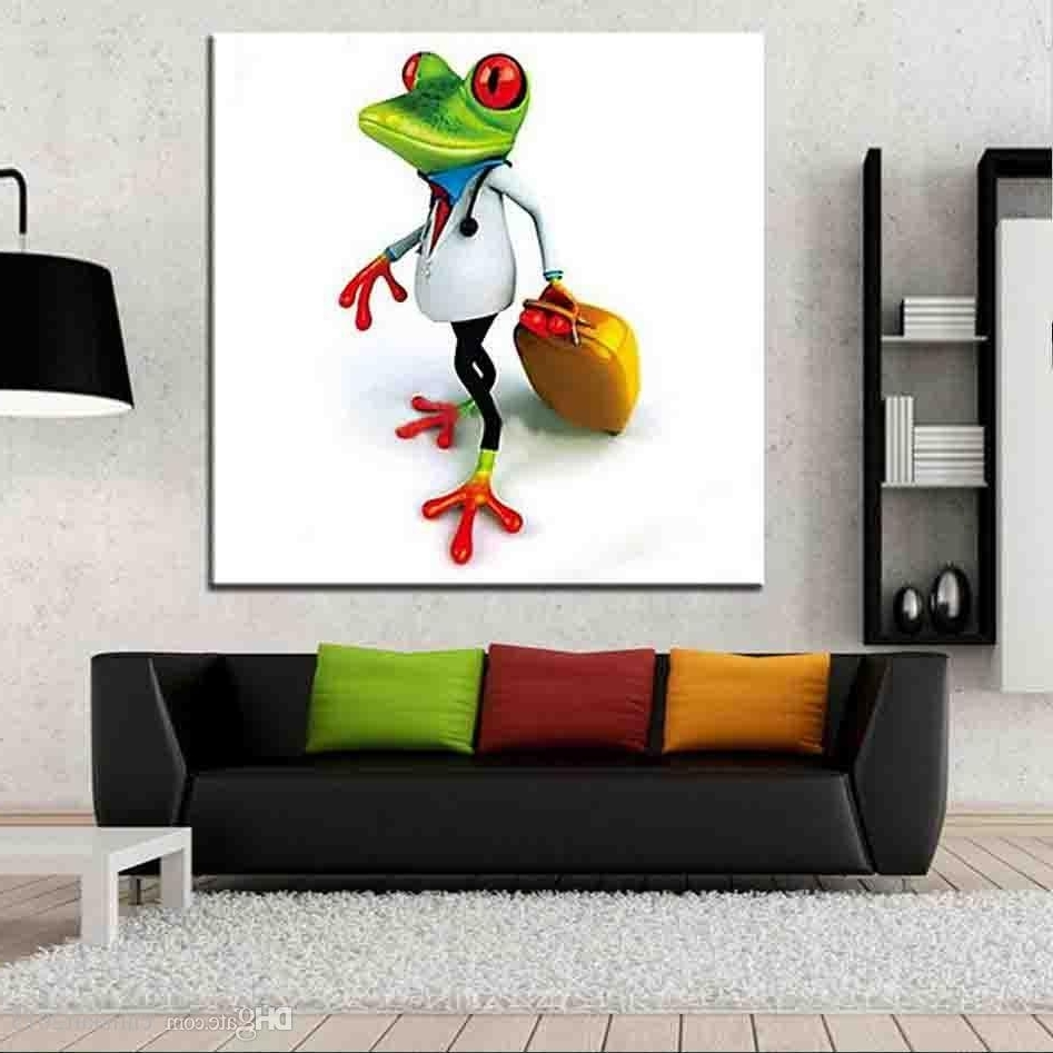 2018 Unframed Handpainted Travel Frog Animal Oil Painting On Canvas With Recent Gecko Canvas Wall Art (View 2 of 20)
