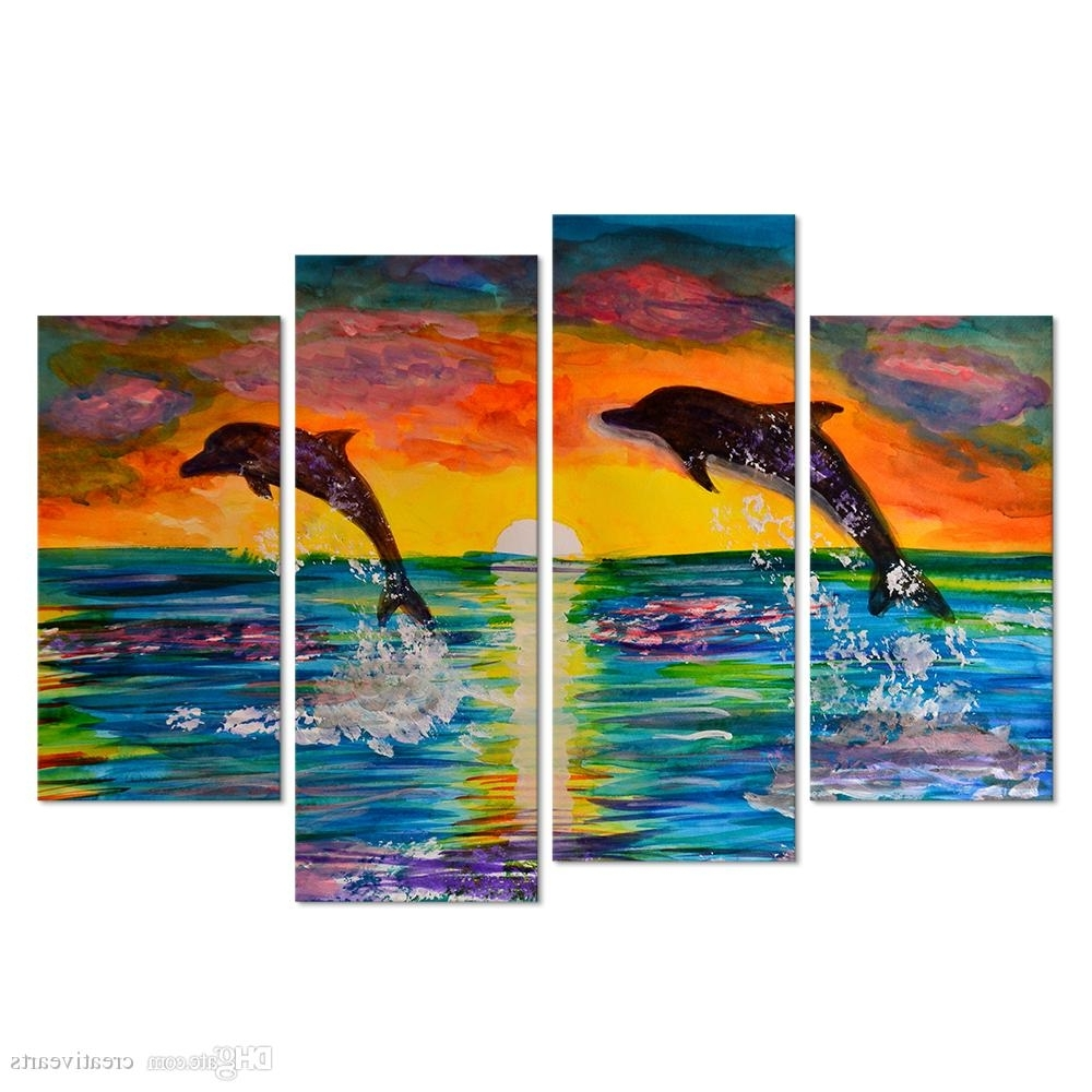 2018 Visual Art Decor 4 Panel Wall Art Cororful Sea Sunset With Jumping Inside Panel Wall Art (View 3 of 20)