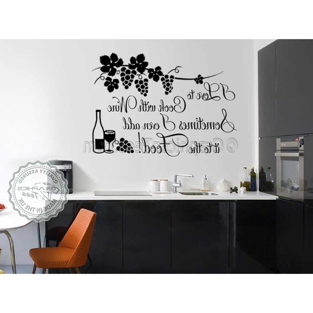 2018 Wall Art For Kitchen Intended For I Love To Cook With Wine, Funny Kitchen Cooking Quote, Vinyl Wall (View 3 of 20)