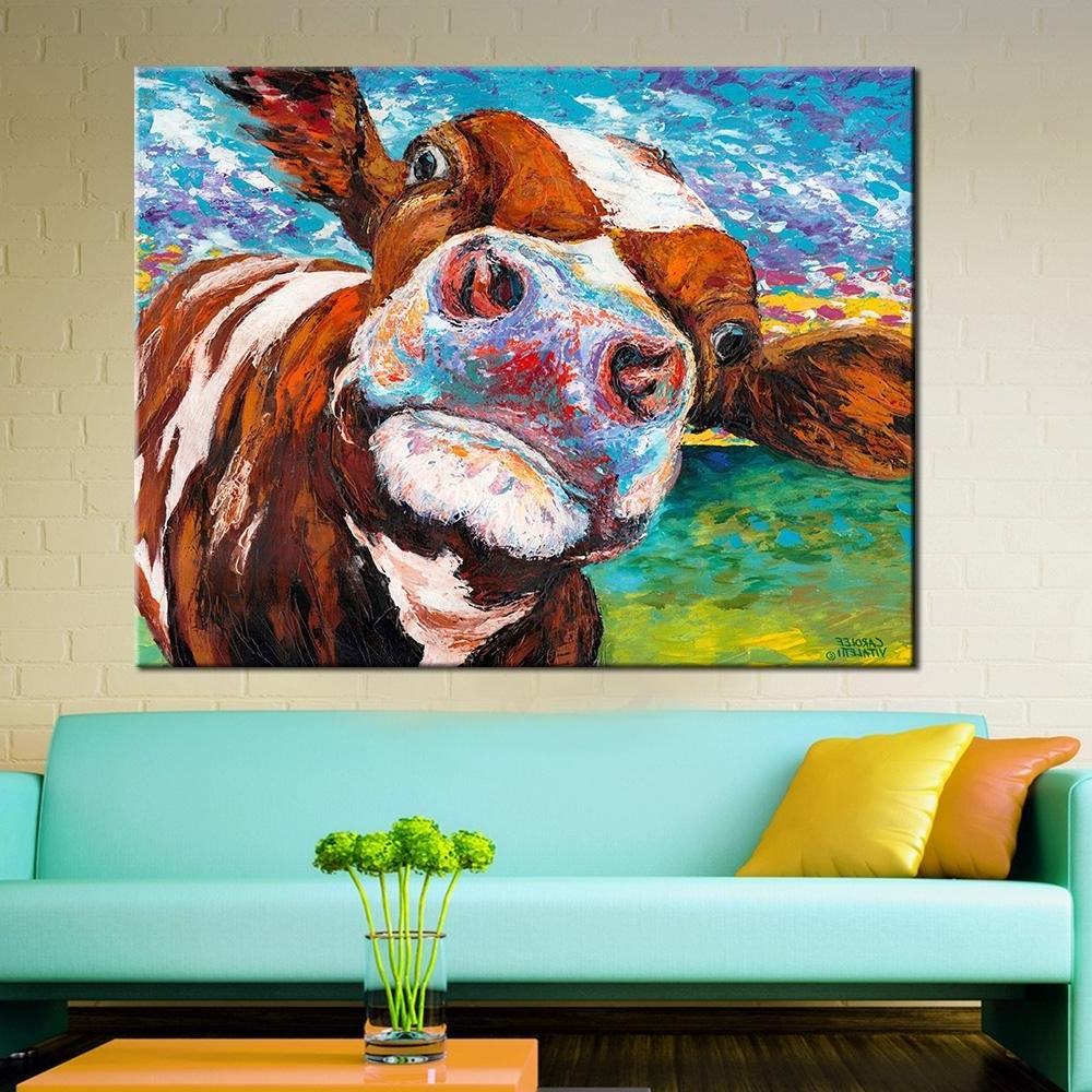 2018 Wall Art Oil Painting Butiful Cow Posters And Prints Wall Regarding Most Current Cow Canvas Wall Art (View 4 of 20)