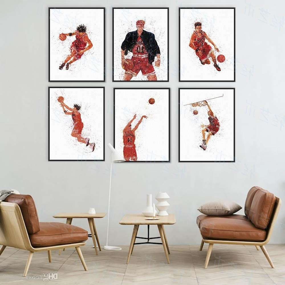 2018 Watercolor Slam Dunk Japanese Animation Basketball Poster Boy Pertaining To Famous Basketball Wall Art (Gallery 1 of 15)