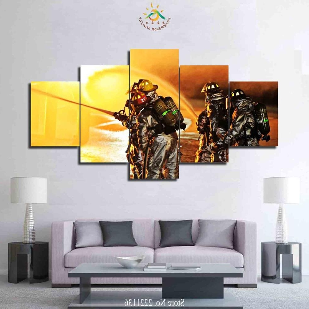 3 4 5 Pieces Firefighter Art Set Poster Home Goods Wall Art Canvas Throughout Well Liked Firefighter Wall Art (View 1 of 20)