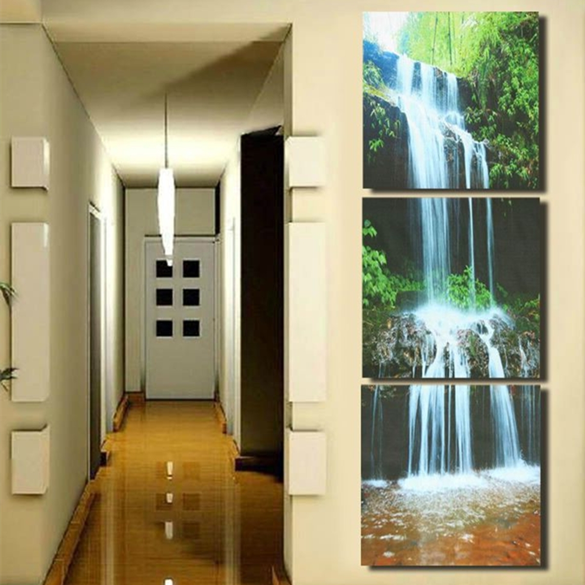 3 Cascade Large Waterfall Framed Print Painting Canvas Wall Art In Best And Newest Large Framed Canvas Wall Art (View 17 of 20)
