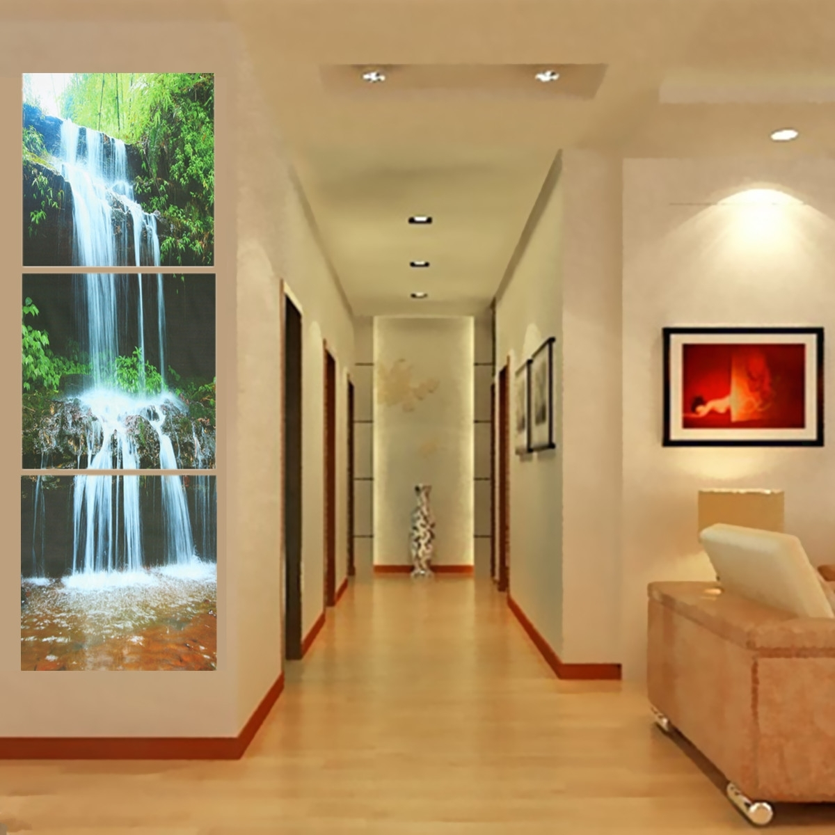 3 Cascade Large Waterfall Framed Print Painting Canvas Wall Art Within Most Recent Large Framed Canvas Wall Art (View 11 of 20)