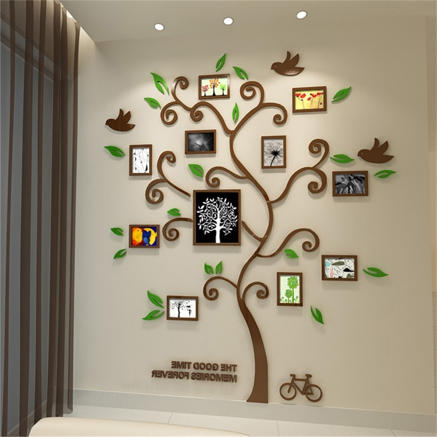 3 Dimensional Wall Art With Favorite New Family Tree Photo Frame Crystal Acrylic Wall Stickers 3D Three (View 7 of 20)