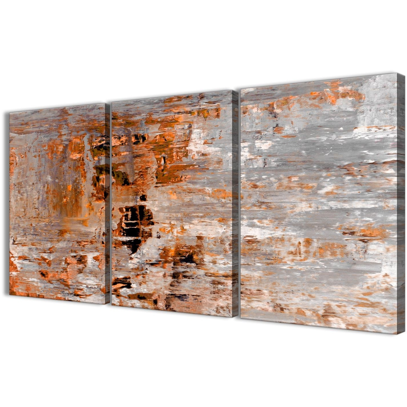 3 Panel Burnt Orange Grey Painting Dining Room Canvas Wall Art Decor Throughout Popular Orange Wall Art (Gallery 8 of 20)