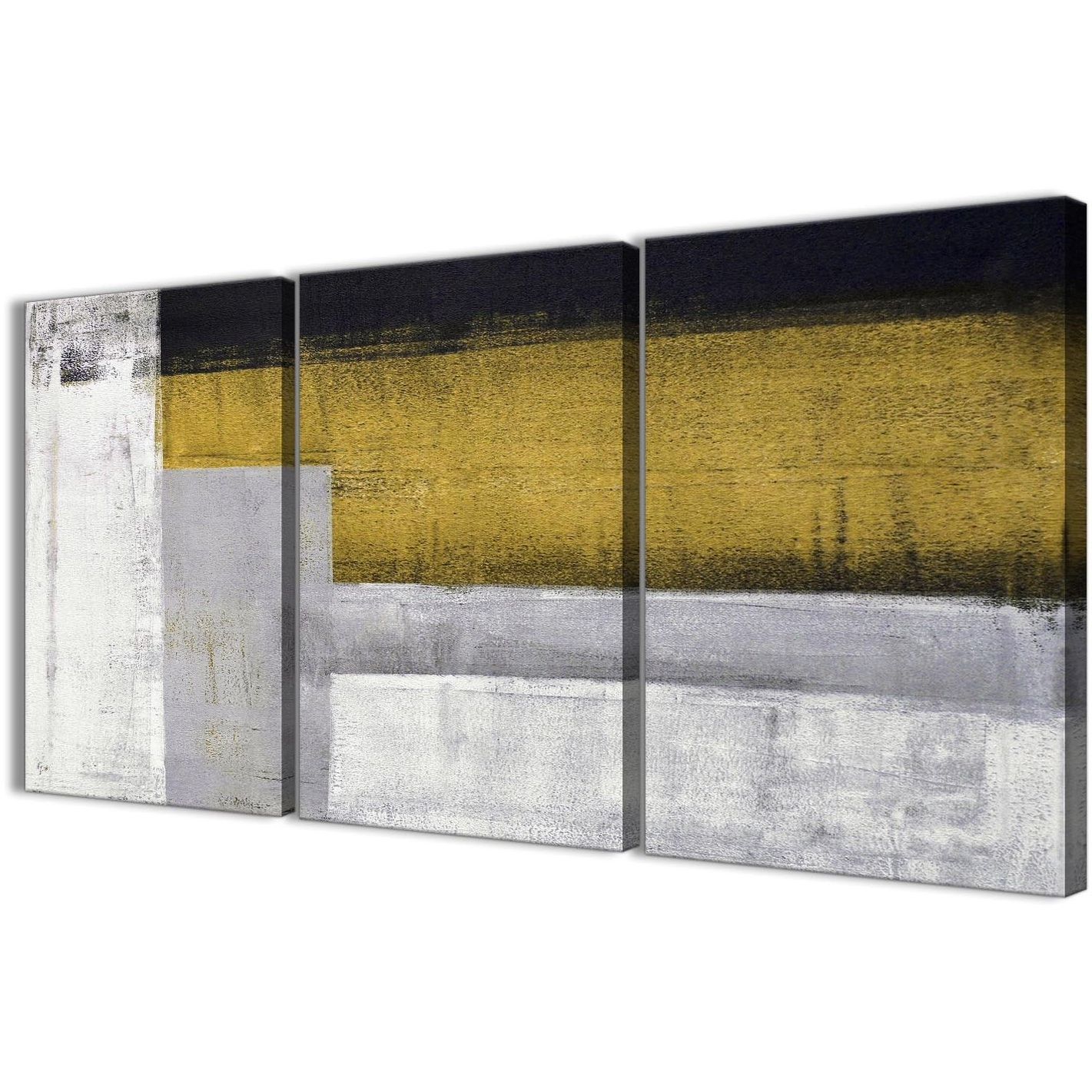 3 Panel Mustard Yellow Grey Painting Kitchen Canvas Wall Art Intended For Most Current 3 Piece Canvas Wall Art (View 3 of 20)