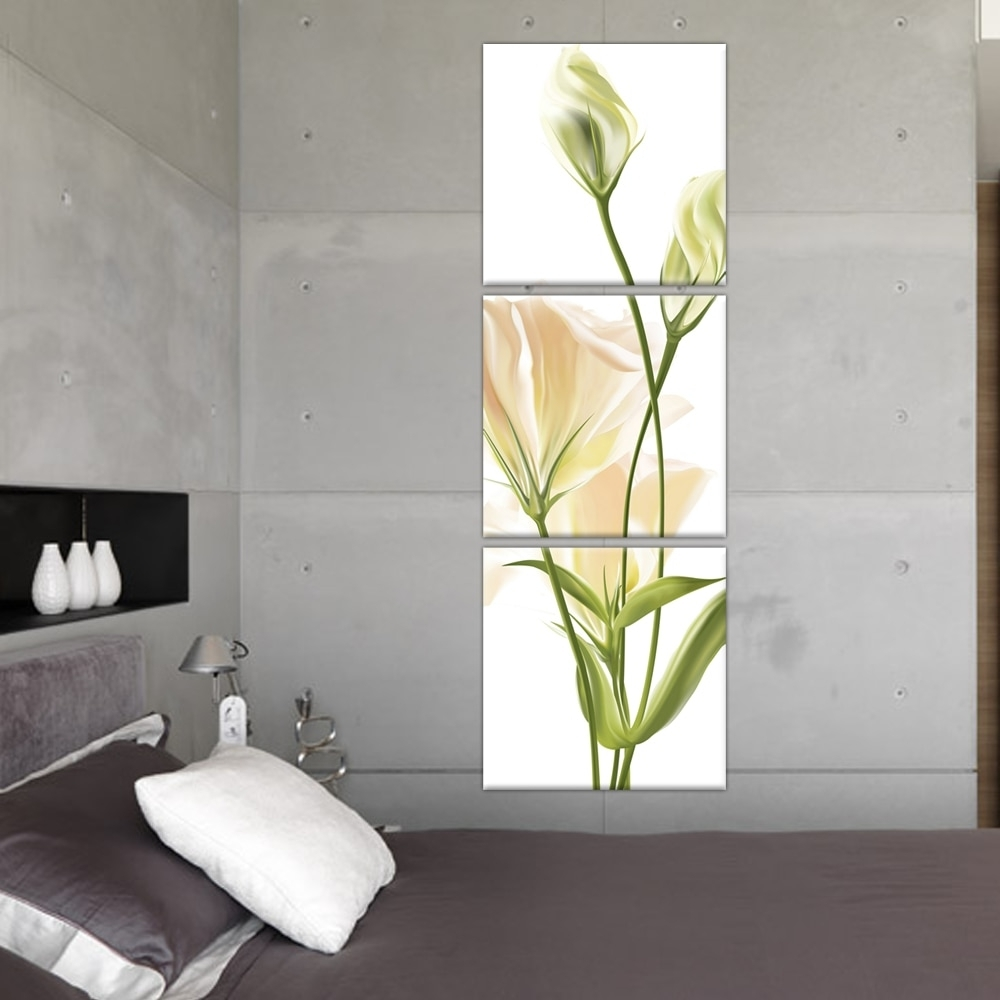 3 Panel Wall Art Abstract Modern Bedroom Beautiful Vertical Flower With Current Vertical Wall Art (View 18 of 20)