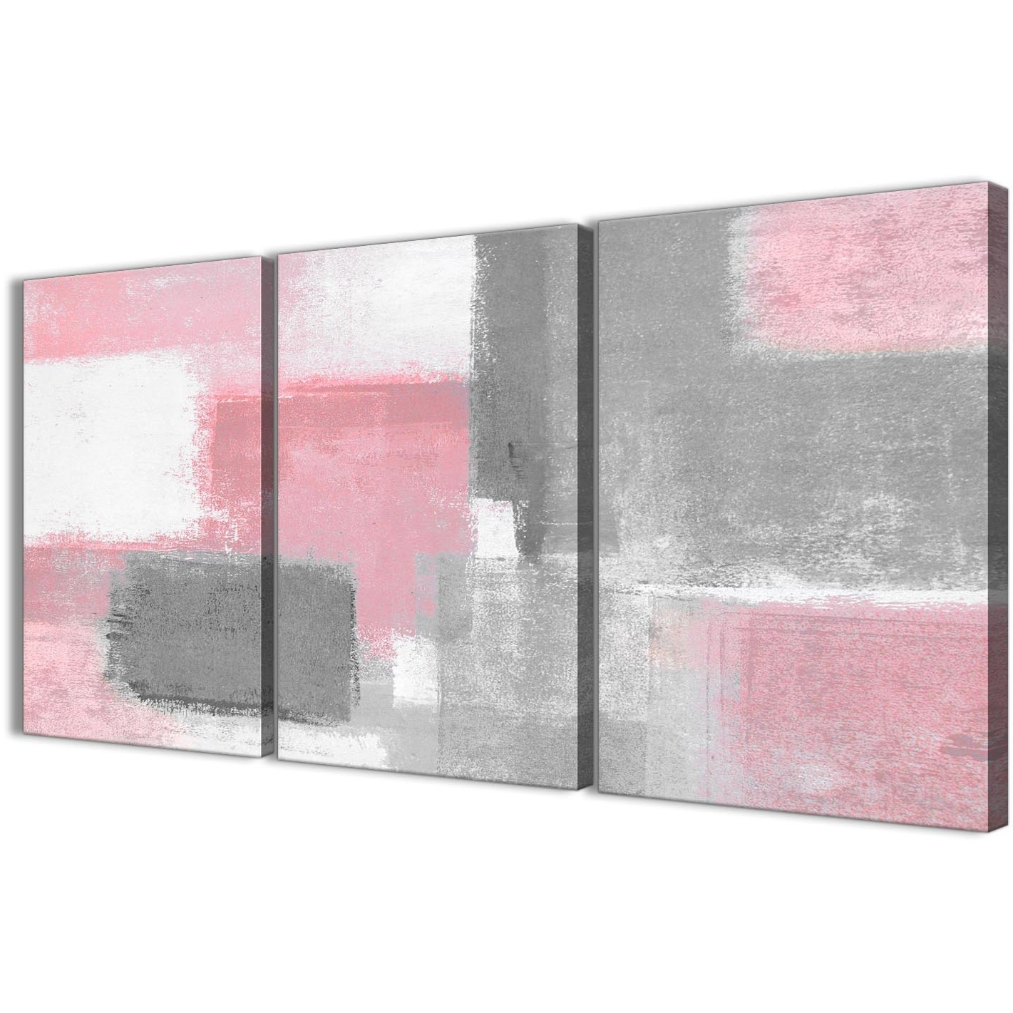3 Piece Blush Pink Grey Painting Office Canvas Wall Art Decor Pertaining To Most Recently Released Gray Canvas Wall Art (View 2 of 20)