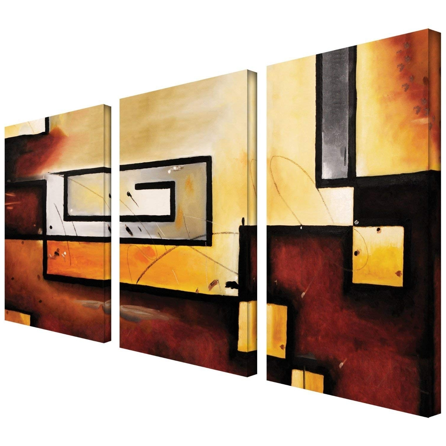 3 Piece Canvas Wall Art Inside 2018 Amazon: Art Wall 3 Piece Abstract Modern Gallery Wrapped Canvas (View 4 of 20)