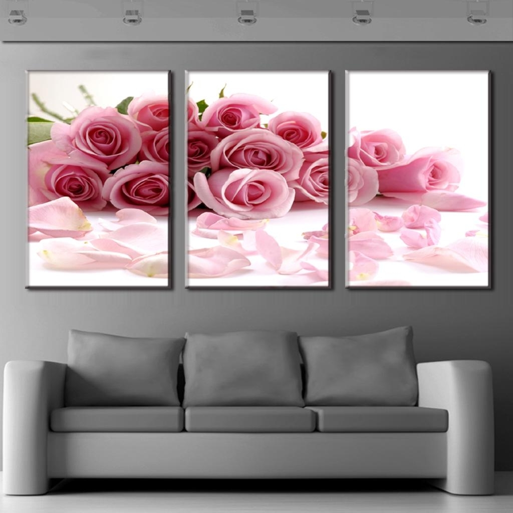 3 Piece Canvas Wall Art Regarding Recent 3 Piece Canvas Art Flower Canvas Print Rose Bouquet Pink Modern Wall (View 5 of 20)