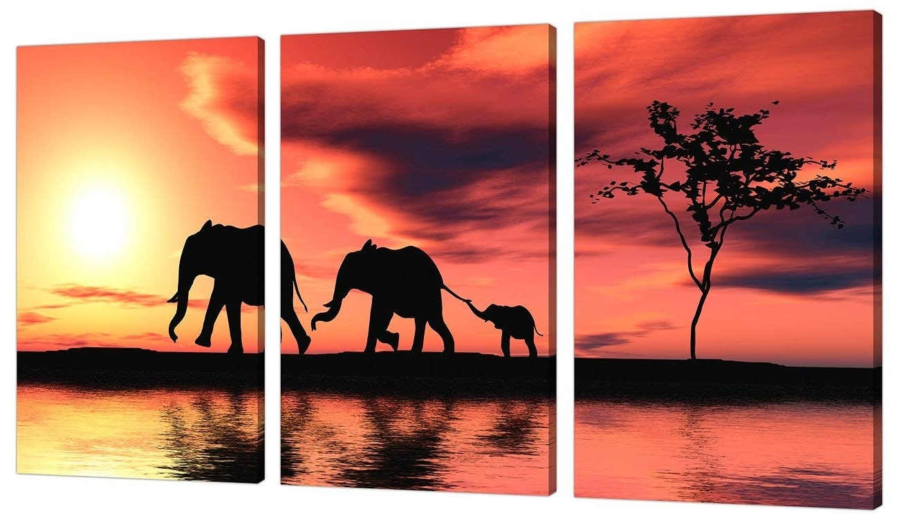 3 Piece Orange Canvas Art Pictures Africa Elephants Wall Prints 3102 Throughout Latest Elephant Canvas Wall Art (View 20 of 20)