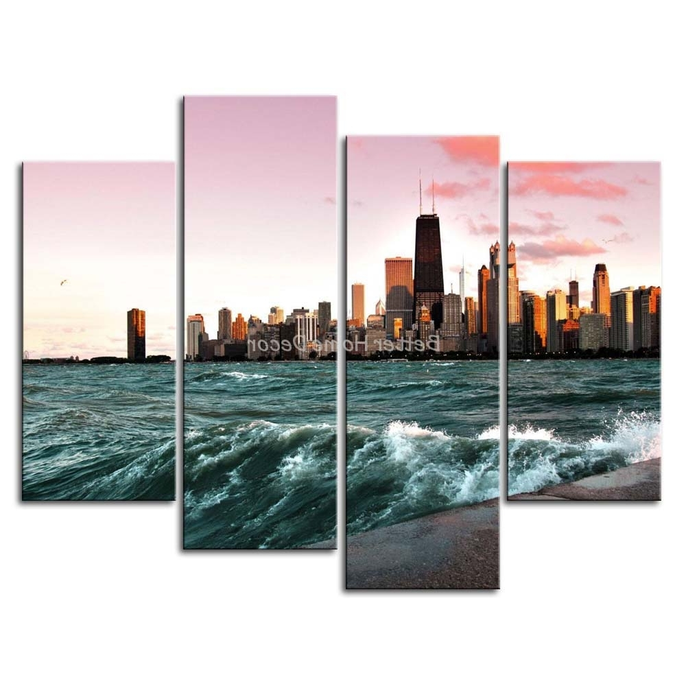 3 Piece Wall Art Painting Chicago And Lake Michigan Picture Print On In Most Recent Michigan Wall Art (Gallery 10 of 20)