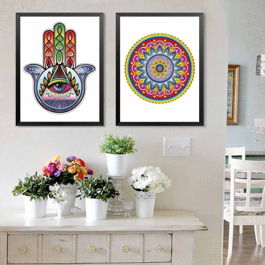 37 Inspirational Hamsa Wall Art Inspiration Of Bohemian Wall Decals Throughout Newest Bohemian Wall Art (View 1 of 20)