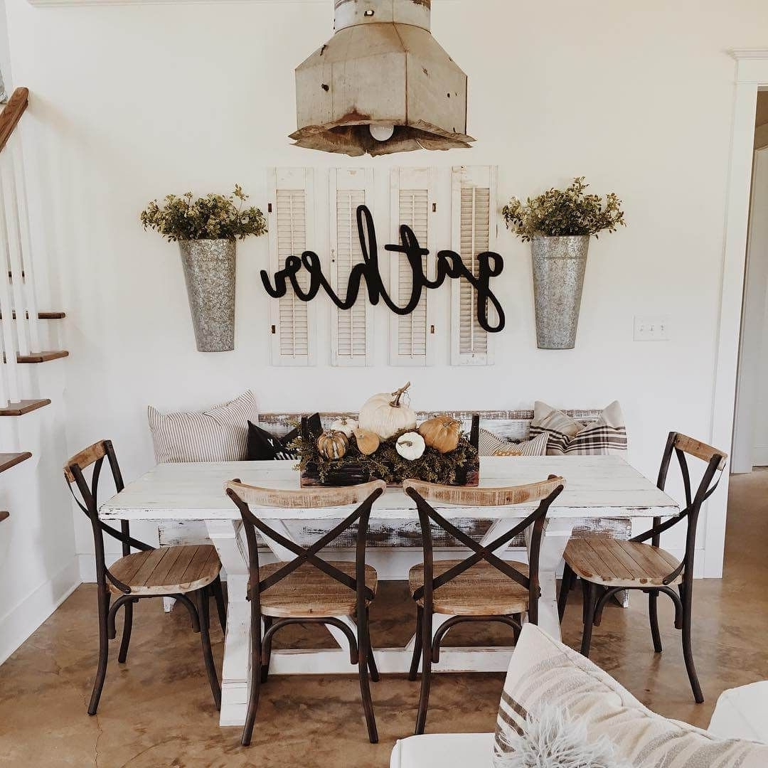 37 Timeless Farmhouse Dining Room Design Ideas That Are Simply Intended For Trendy Dining Room Wall Art (Gallery 1 of 15)