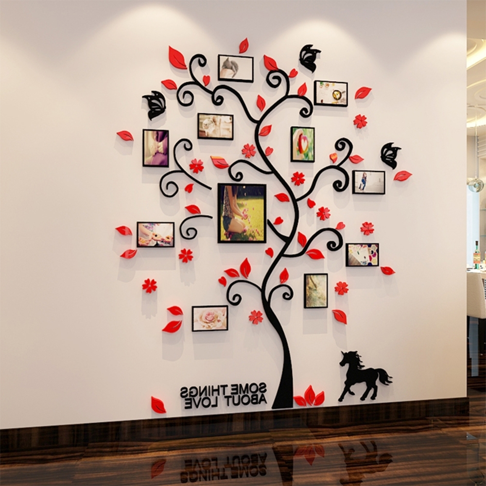 3D Acrylic Family Tree Wall Stickers With Photo Frame Living Room For Well Liked Family Tree Wall Art (Gallery 4 of 15)