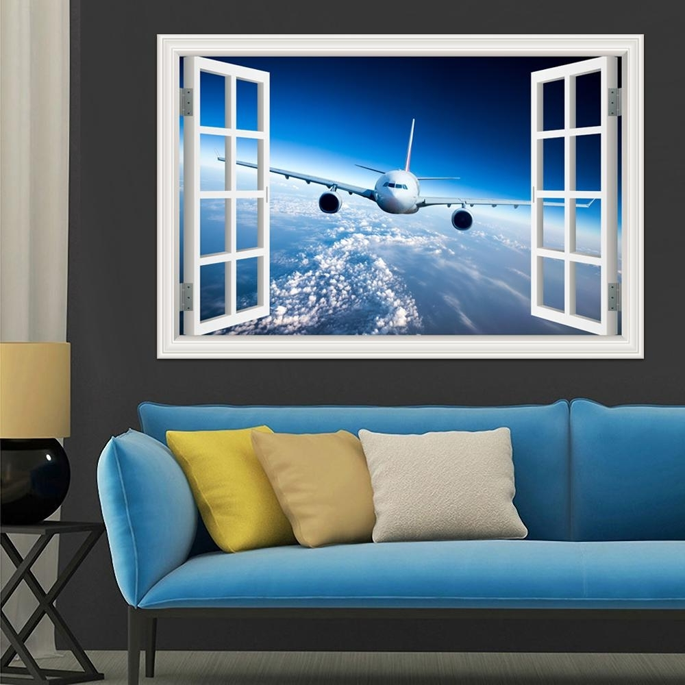3D Landscape Wallpaper Airplane Wall Sticker Decal Vinyl Wall Art Throughout Widely Used Airplane Wall Art (Gallery 5 of 20)