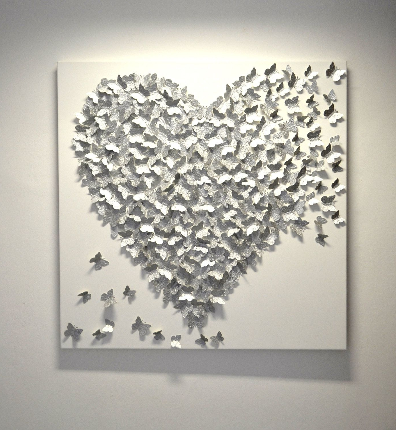 3D Silver Butterfly Art – Hollywood Regency Glam / Modern Statement With Newest Silver Wall Art (Gallery 1 of 20)