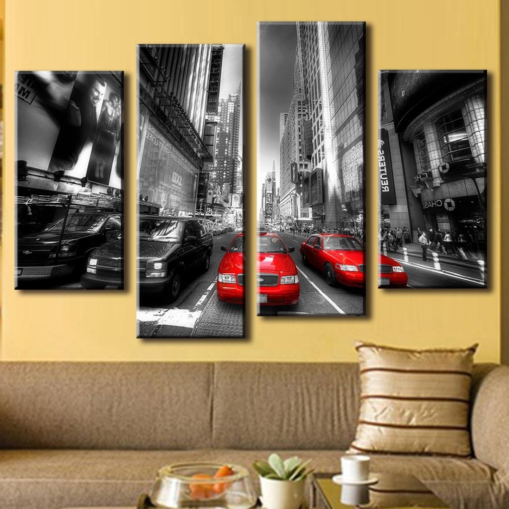 4 Pcs/set New Arrival Modern Wall Painting Canvas Wall Art Picture For Latest Modern Painting Canvas Wall Art (View 1 of 20)