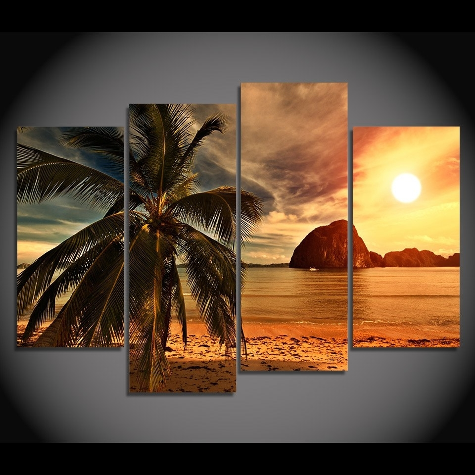 4 Piece Canvas Art Canvas Painting Tropical Palm Tree Hd Printed Pertaining To Most Recently Released Palm Tree Wall Art (View 3 of 20)
