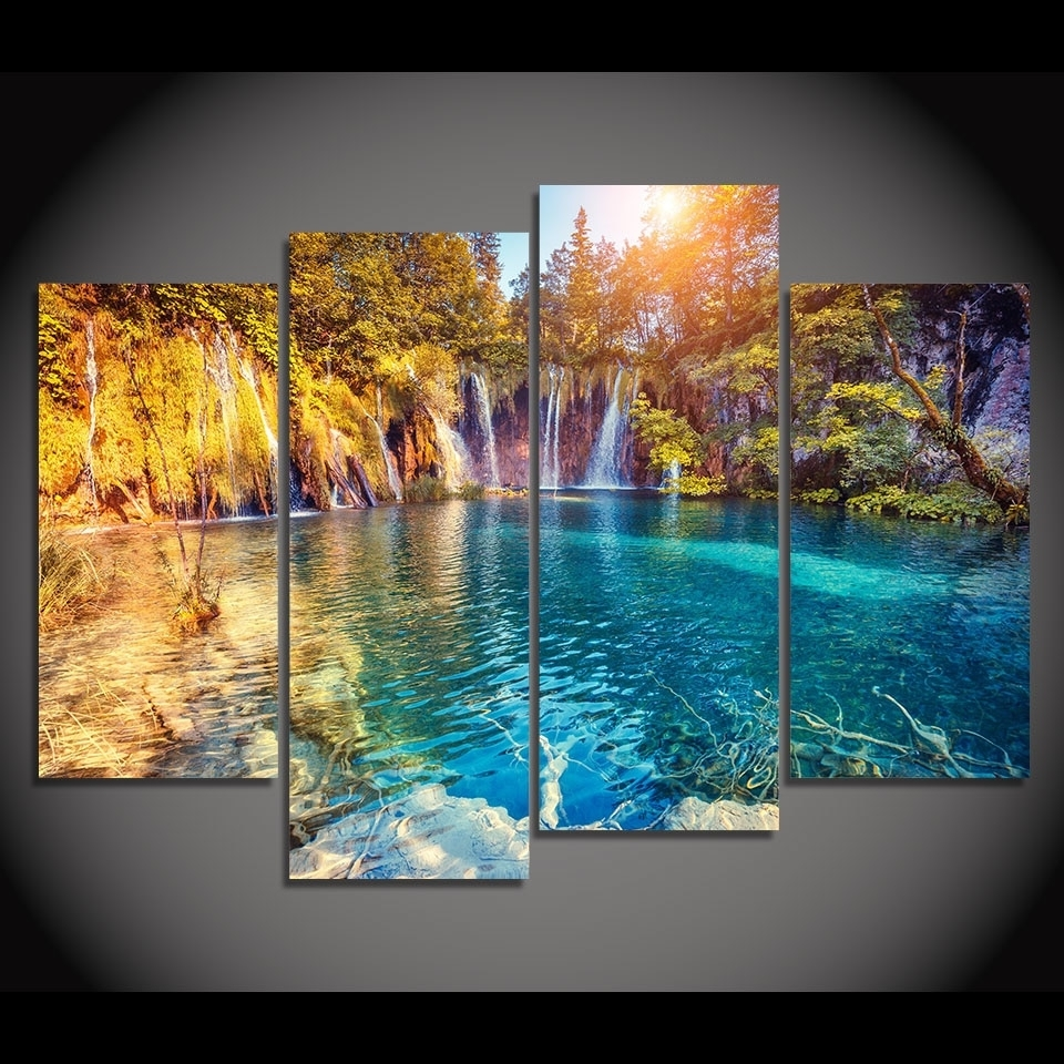 4 Piece Canvas Painting Clear Pool Nature Hd Printed Canvas Art With Regard To Well Known Nature Wall Art (View 6 of 20)