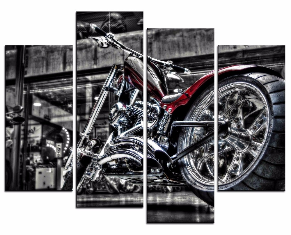 4 Pieces Motorcycle Wall Art Picture Home Decoration Living Room Throughout Favorite Motorcycle Wall Art (View 3 of 20)